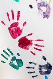 Prints of hands of child Stock Images