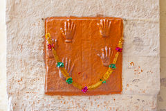 Prints of the hands of indian wives who have committed sati Stock Image