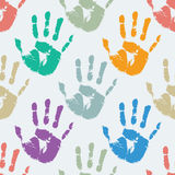 Prints of hands, seamless pattern. Seamless vector pattern of prints of hands Stock Photo