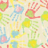 Prints of hands, seamless pattern,vector. Prints of hands, seamless pattern or background texture, vector illustration Royalty Free Stock Photography