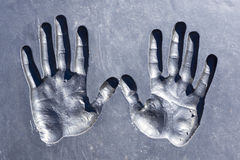 Prints of human hands Stock Photography