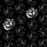 Prints of leaf. Seamless pattern on a black background.  Royalty Free Stock Photos