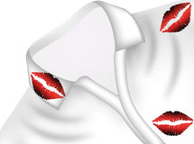 Prints of lipstick on his shirt Royalty Free Stock Images