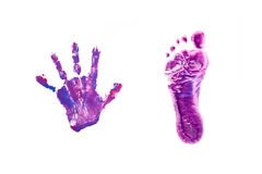 Prints little baby foot and hand. Stock Photos
