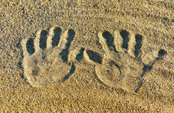 Prints on the sand. Royalty Free Stock Images