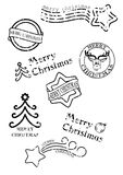 Prints of stamps with christmas motives. Isolated on white background Stock Image