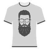 Prints T-shirts with the image of hipsters. Stock Photography