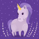 Vector illustrations with violet unicorn, plants and stars on dark background. Prints, templates, design elements for greeting cards, invitation cards Vector Illustration