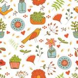 PrintSeamless pattern with plants birds leaves. Seamless pattern with plants birds leaves and flowers. vector illustration vector illustration