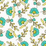 PrintSeamless wzór z żółtym i błękitnym nowożytnym latem kwitnie Wektorowa niekończący się kwiecista tekstura Bezszwowy szablon m ilustracja wektor