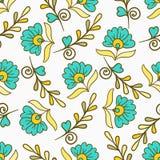 PrintSeamlesspatroon met gele en blauwe moderne de zomerbloemen Vector eindeloze bloementextuur Het naadloze malplaatje kan worde Stock Fotografie