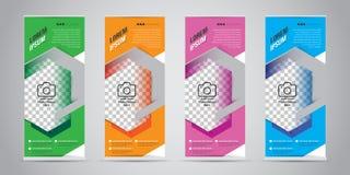 PrintSet av affären rullar upp banret med 4 variant- färger klar vektor för nedladdningillustrationbild stock illustrationer