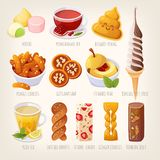 PrintSet av nya smakliga s?ta efterr?tter fr?n asiatiska kokkonster arkivbilder