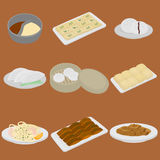 PrintSet of chinese food flat design elements. Asian street food menu. Traditional dish Peking duck, soup huo guo, pork and tofu. Royalty Free Stock Images