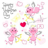 PrintSet Wedding and Valentines Day design elements. Little cute cupids isolated on white background. Vector Royalty Free Stock Photos