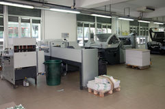 Printshop: post press finishing line Stock Image