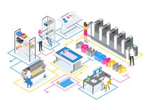 Printshop or printing service center with men and women working with plotters, offset and inkjet printers and other stock illustration