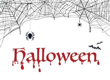 PrintSpiderweb, bat and spider with word halloween. Decoration for party vector illustration