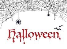 PrintSpiderweb, palo y araña con la palabra Halloween Decoración para el partido Ilustración del Vector