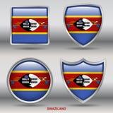 PrintSwazilandvlag in 4 vormeninzameling met het knippen van weg Stock Afbeeldingen