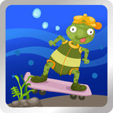 Printurtles play skateboarding underwatert Royalty Free Stock Photo