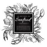 PrintVector-Weinlesemeeresfrüchte-Restaurantillustration Hand gezeichnete Fahne Lizenzfreie Stockbilder