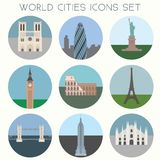 PrintWorld Cities landmarks & symbols - Icons Set. World Cities landmarks & symbols - Icons Set - Vector EPS10 Royalty Free Stock Image