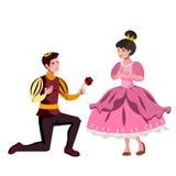 Prinz war auf seinen Knien um die Prinzessinheirat bitten Lizenzfreie Stockbilder