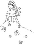 Prinzessin Coloring Page Stockfoto