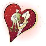 Prinzessin, die den Frosch küsst Lizenzfreie Stockbilder