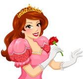Prinzessin, die eine Rose hält Stockbild