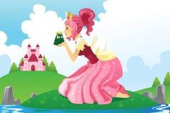 Prinzessin, die einen Frosch küßt Lizenzfreies Stockfoto