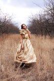 Prinzessin im Goldkleid stockfotografie