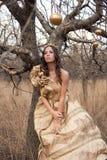 Prinzessin im Goldkleid lizenzfreie stockfotografie