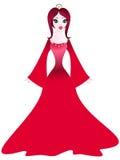 Prinzessin im roten Kleid Stockbild