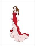 Prinzessin im roten Kleid vektor abbildung