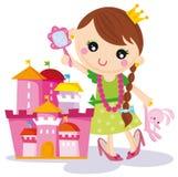 Prinzessin mit ihrem Schloss Lizenzfreies Stockbild