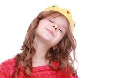 Prinzessin mit papper Krone Stockfoto