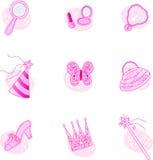 Prinzessin Party Icons Lizenzfreies Stockfoto