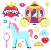 Prinzessin Party Unicorn Poster Vector Illustration Stockbild