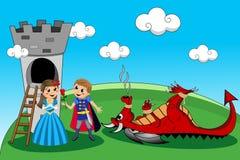 Prinzessin Prince Dragon Tower Rescue Kids Tale Lizenzfreies Stockbild