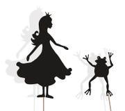 Prinzessin- und Froschschattenmarionetten auf Weiß lizenzfreie stockfotografie