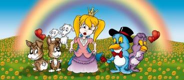 Prinzessin und Tiere Lizenzfreies Stockfoto