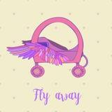 Prinzessin-Wagen orchariot der Märchen königliches rosa, Vektorweinlese-Mädchenwagen, Online-Shop, Spielzeug auf beige Hintergrun Stockfoto