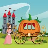 Prinzessinkürbiswagen-Schlosslandschaft Lizenzfreies Stockbild