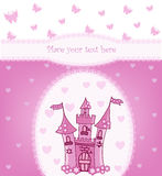 Prinzessinkarte mit magischem Schloss Lizenzfreies Stockbild