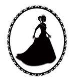 Prinzessinschattenbild im langen Kleid und im Retro- Rahmen Stockbilder