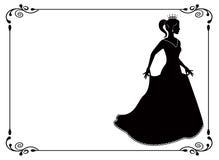 Prinzessinschattenbild im langen Kleid und im Retro- Rahmen Stockfotos