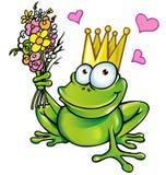 Prinzfrosch mit Blumenstrauß Lizenzfreies Stockfoto