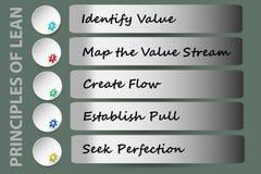 Prinzipien des Vektors des schlanken Managements Stockfotos